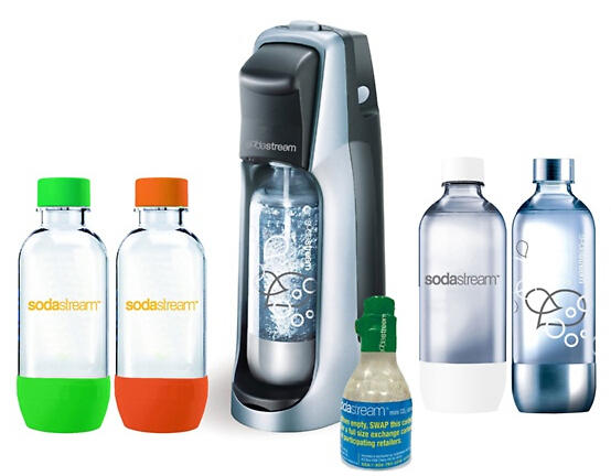 SodaStream Fountain Jet Soda Maker Set with Four 1L Bottles and 30L CO2 Carbonator