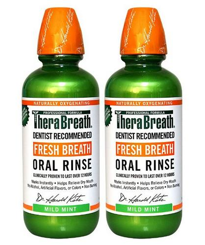 $14.80 TheraBreath Dentist Recommended Fresh Breath Oral Rinse - Mild Mint Flavor, 16 Ounce (Pack of 2)