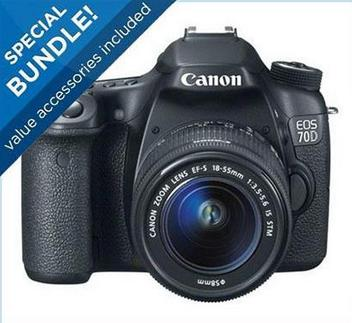 $749 Canon 70D Camera with 18-55mm Lens Special Promotional Bundle