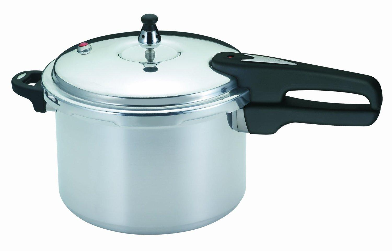 Mirro Polished Aluminum Pressure Cooker, 6-Quart, Silver, Exclusively for Prime Members