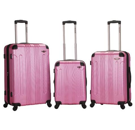 $113.99 Rockland Luggage 3 Piece Sonic Upright Set, Magenta, One Size