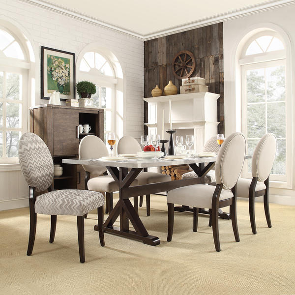 $136.49 2 X INSPIRE Q Paulina Grey Chevron Round Back Dining Chair