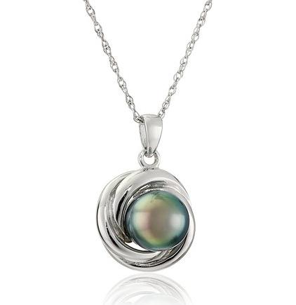 Sterling Silver Necklace with 8-8.5mm Black Pearl Love Knot Pendant, 18""