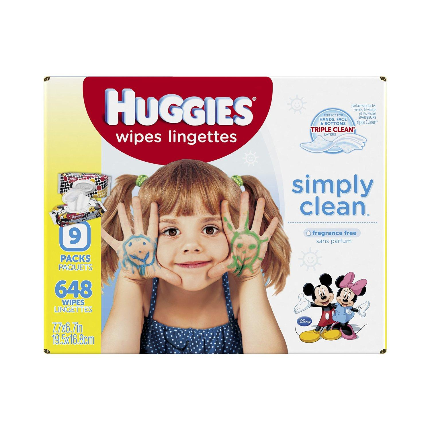 $9.11 Huggies Simply Clean Baby Wipes Refill, 648 Count