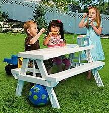 $41 KidNic Children's Picnic Table, White