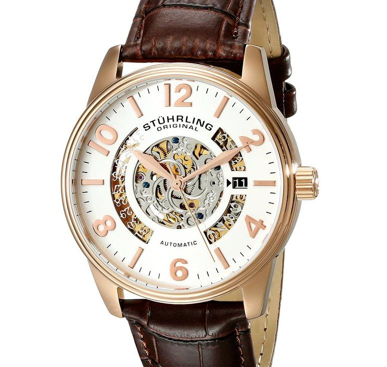 $94.99 Stuhrling Original Men's 649.02 Legacy Automatic 16k Rose Gold-Plated Stainless Steel Watch with Brown Leather Band