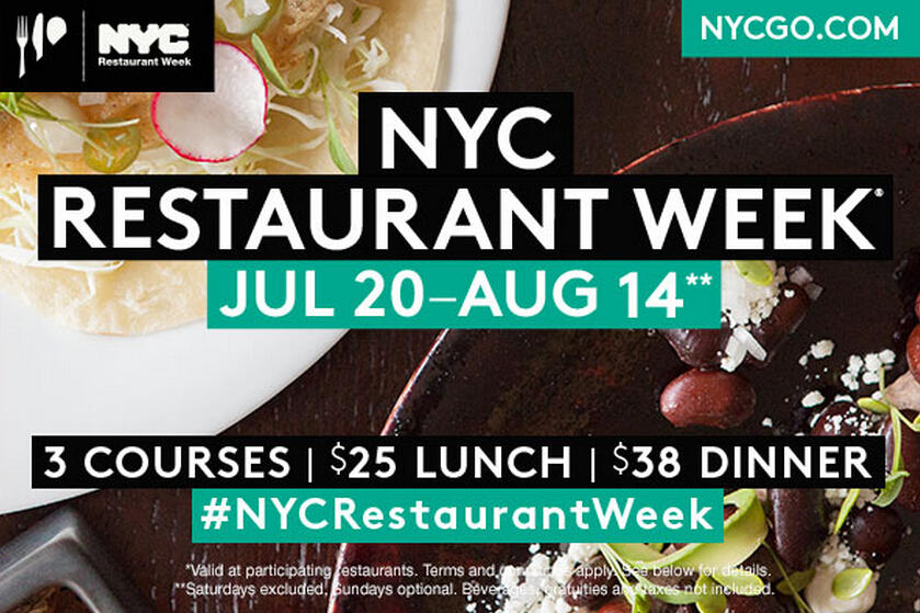 Lunch $25/ Dinner $38 + $5 Back wITH NYC Restaurant Week 2015