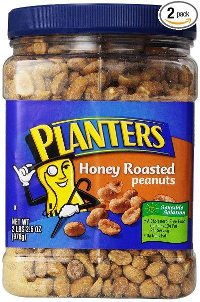 $9.08 Planters Roasted Honey Peanuts, 34.5-Ounce Packages (Pack of 2)