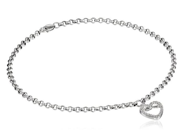 14k White Gold and Diamond Ankle Bracelet