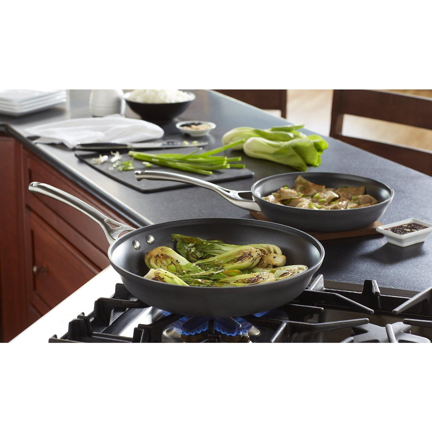 Calphalon Contemporary Hard-Anodized Aluminum Nonstick Cookware, Omelette Pan, 10-inch and 12-inch Set, Black