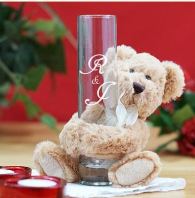 $15 Engraved Couples Initials Bud Vase & Teddy Bear Hugger @ 800Bear