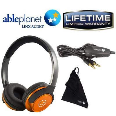 Able Planet SH190 Travelers Choice Stereo Headphones w/ LINX AUDIO & Inline Volume - Orange