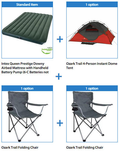 $59 Ozark Trail 4-Person Instant Dome Tent with 2 Folding Chairs and Bonus Queen Airbed Bundle
