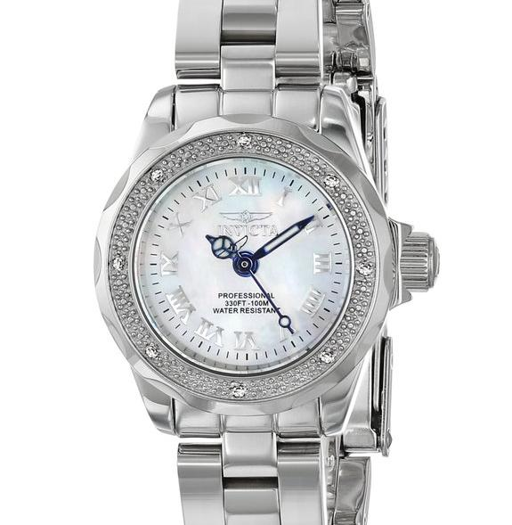 $82.99 Invicta Women's 16946 Wildflower White Mother of Pearl Dial Silver-Tone Watch