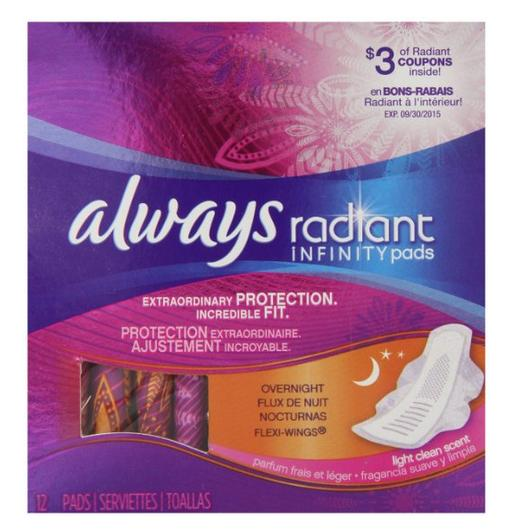 Always Radiant Infinity Overnight With Wings Scented Pads 12 Count