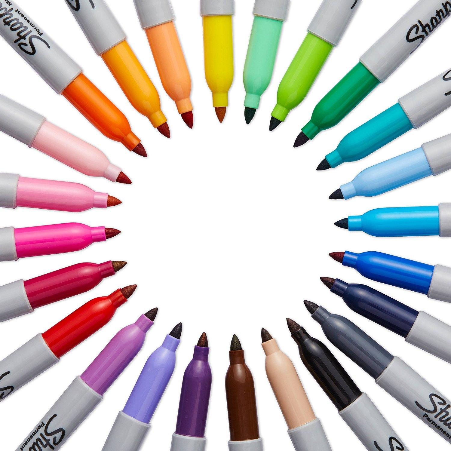Sharpie Permanent Marker, Assorted Colors,Pack of 20 @ Amazon