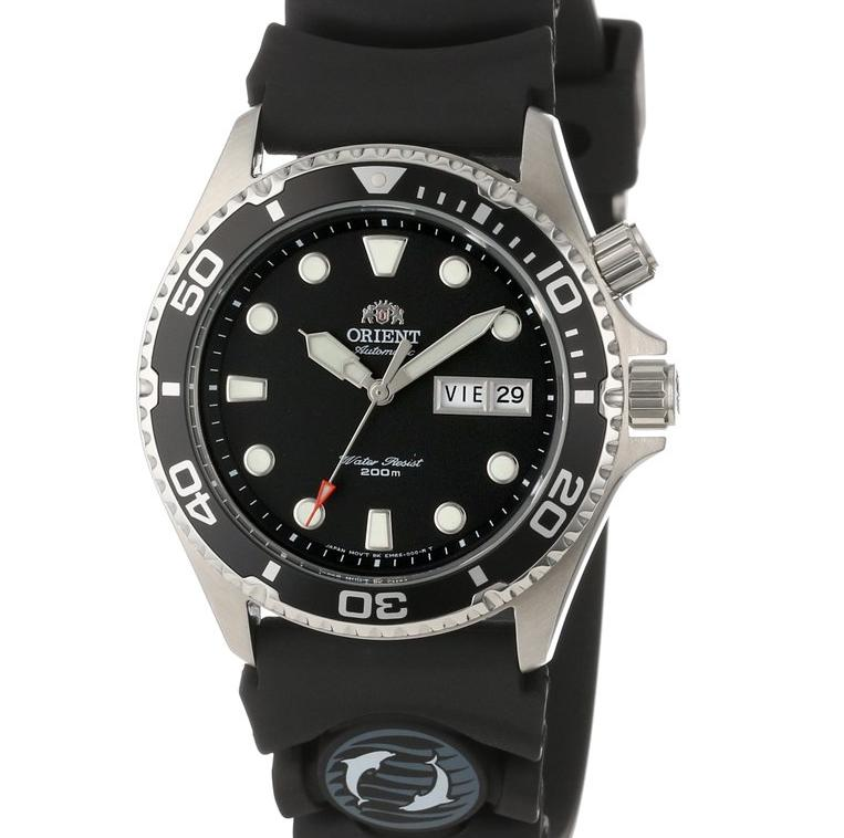 "$99.99 Orient Men's EM6500BB ""Ray"" Automatic Stainless Steel Dive Watch with Black Rubber Band"
