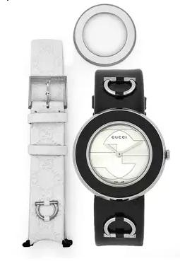 Gucci  Women's U-Play White Dial Reversible Leather Band Watch @ The Watchery