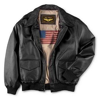 Landing Leathers Men's Air Force A-2 Leather Flight Bomber Jacket - Black M