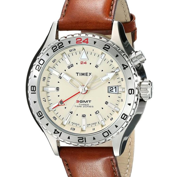 Lowest price! Timex Men's T2P426DH Intelligent Quartz 3-GMT Stainless Steel Watch with Brown Leather Band