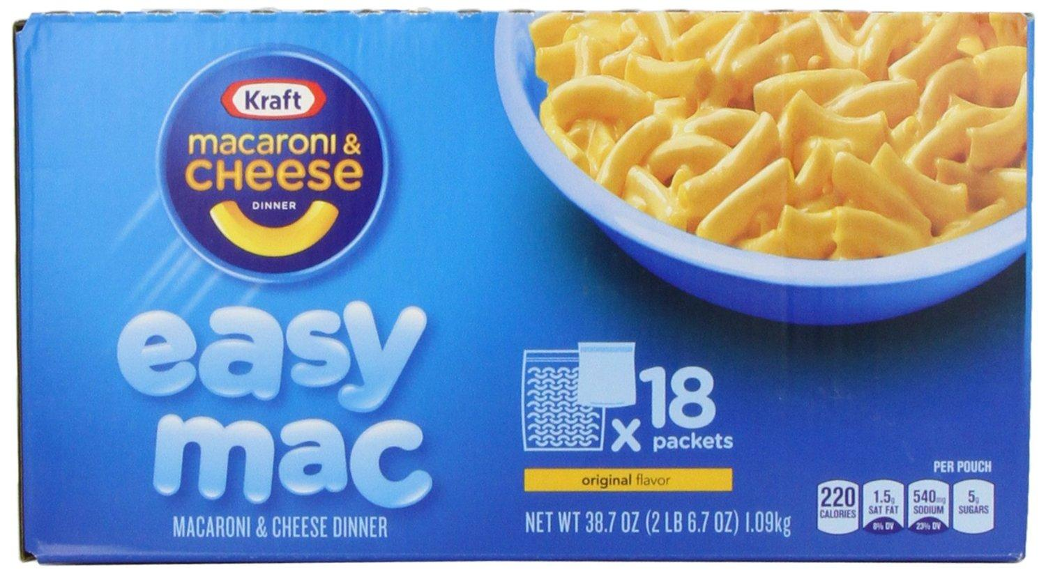 $6.57 Kraft Easy Mac Original Macaroni and Cheese Dinner 18 Microwaveable Single Serve Packs