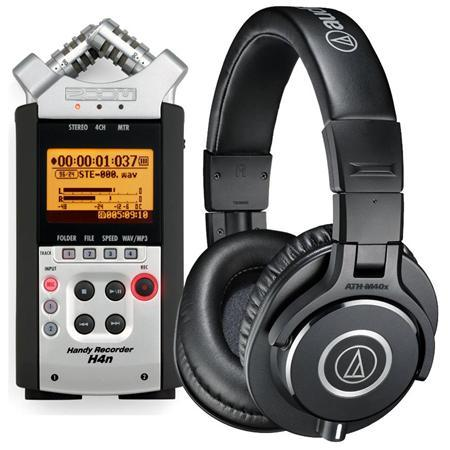$229.99 Zoom H4nSP Handy Mobile 4-Track Recorder Bundle With Audio-Technica ATH-M40x Professional Monitor Headphones