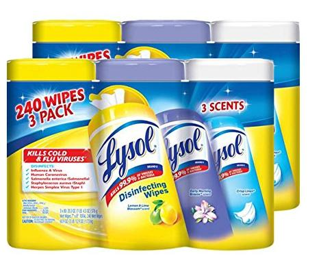 $13.36 Lysol Disinfecting Wipes Variety Value Pack, Lemon, Early Morning Breeze and Crisp Linen, 480 Count