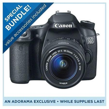$949 Canon 70D Camera with 18-135mm Lens Special Promotional Bundle (MIR)