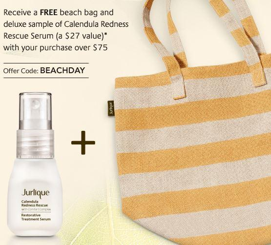 Free Beach Bag + Calendula Redness Rescure Serum with $75 purchase @ Jurlique