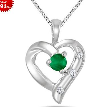 Emerald and Diamond Heart Pendant in .925 Sterling Silver @ Szul.com