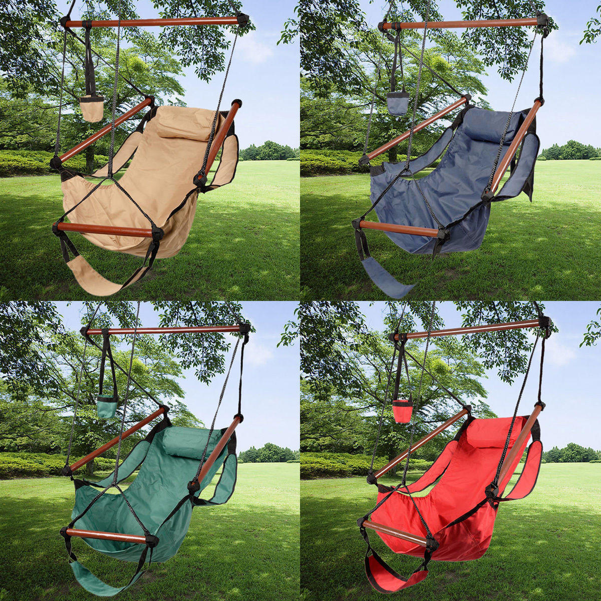 $24.89 + Free Shipping Outdoor Indoor Hammock Hanging Chair Air Deluxe Sky Swing Chair Solid Wood 250lb