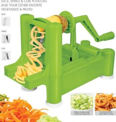 $21.99 New and Essential Spiralizer Tri-Blade Spiral Vegetable Slicer (Green)