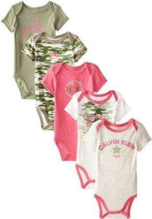 Calvin Klein Baby-Girls Newborn 5 Pack Creeper Set- Green Pink Group
