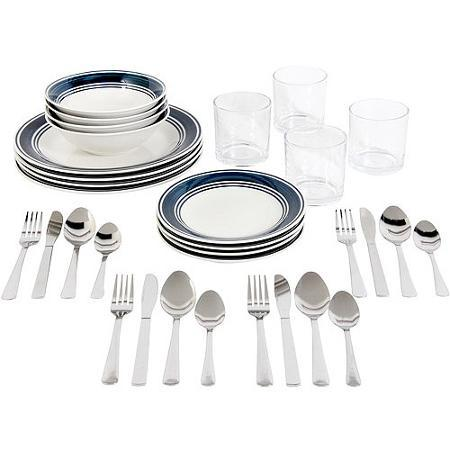 $19 Gibson Home Basic Living 32-Piece Combo Set, Blue Banded