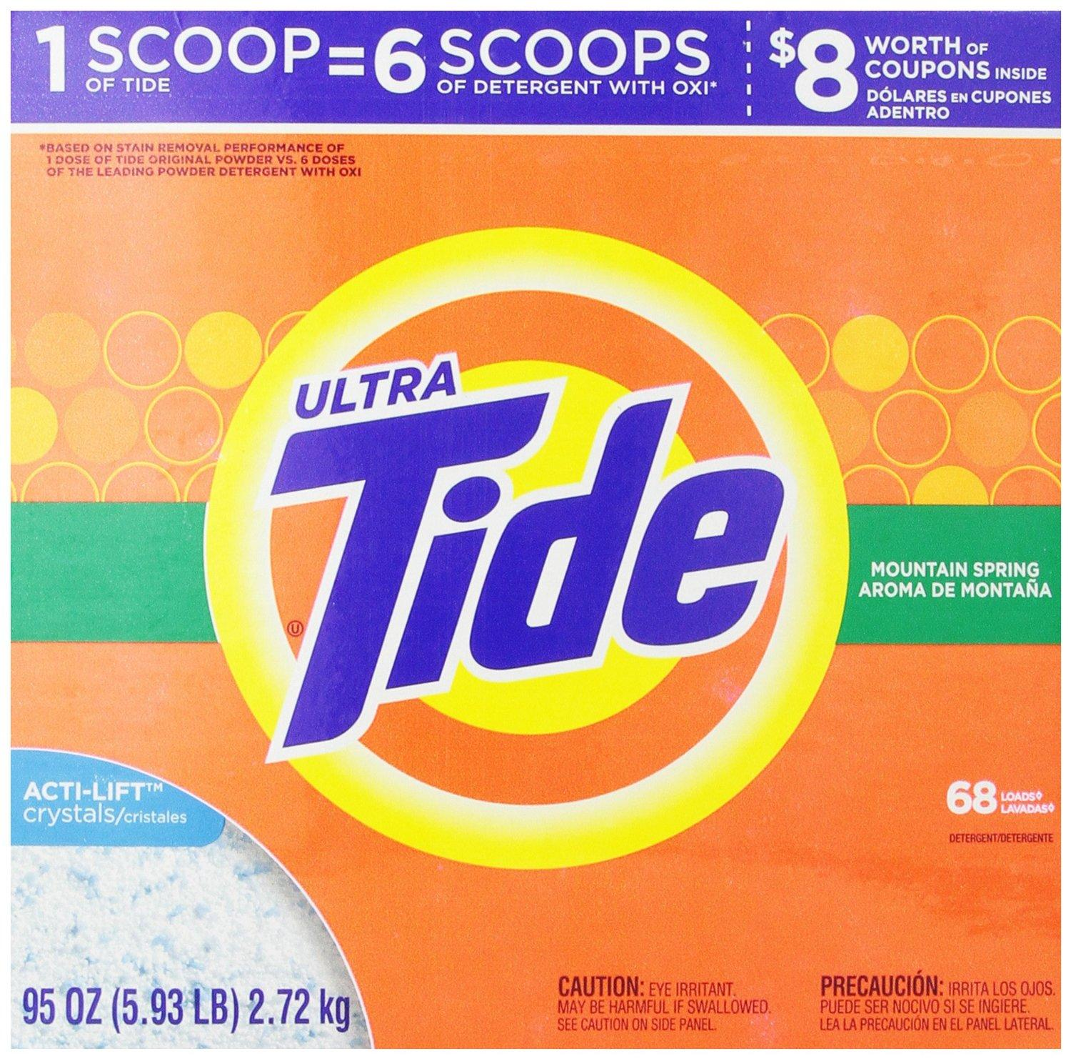 $10.93 Tide Ultra Mountain Spring Scent Powder Laundry Detergent 68 Loads 95 Oz