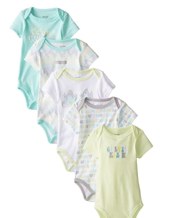 From $9.06 Calvin Klein Baby Girls Mint & Lime Printed 5pc Bodysuit Set