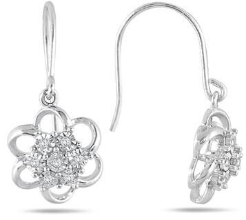 $17Diamond Cluster Drop Earrings in .925 Sterling Silver