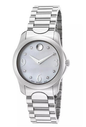 Movado Women's Moda Diamond Stainless Steel White Mother of Pearl Dial Watch MOV-0606696