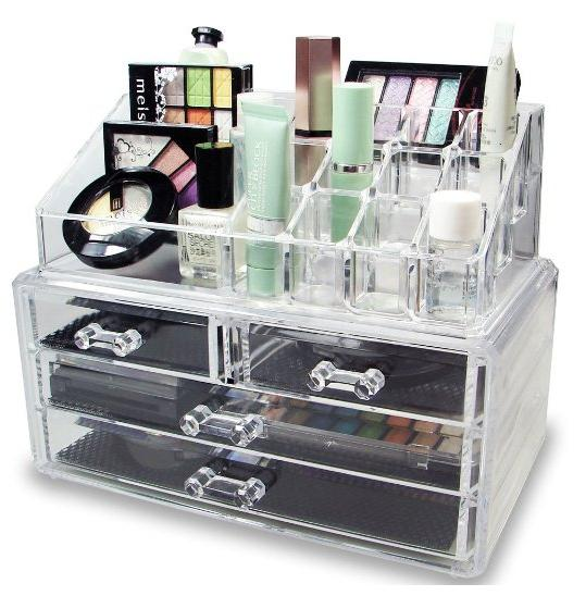 20.30 NILECORP Acrylic Jewelry & Cosmetic Storage Display Boxes Two Pieces Set