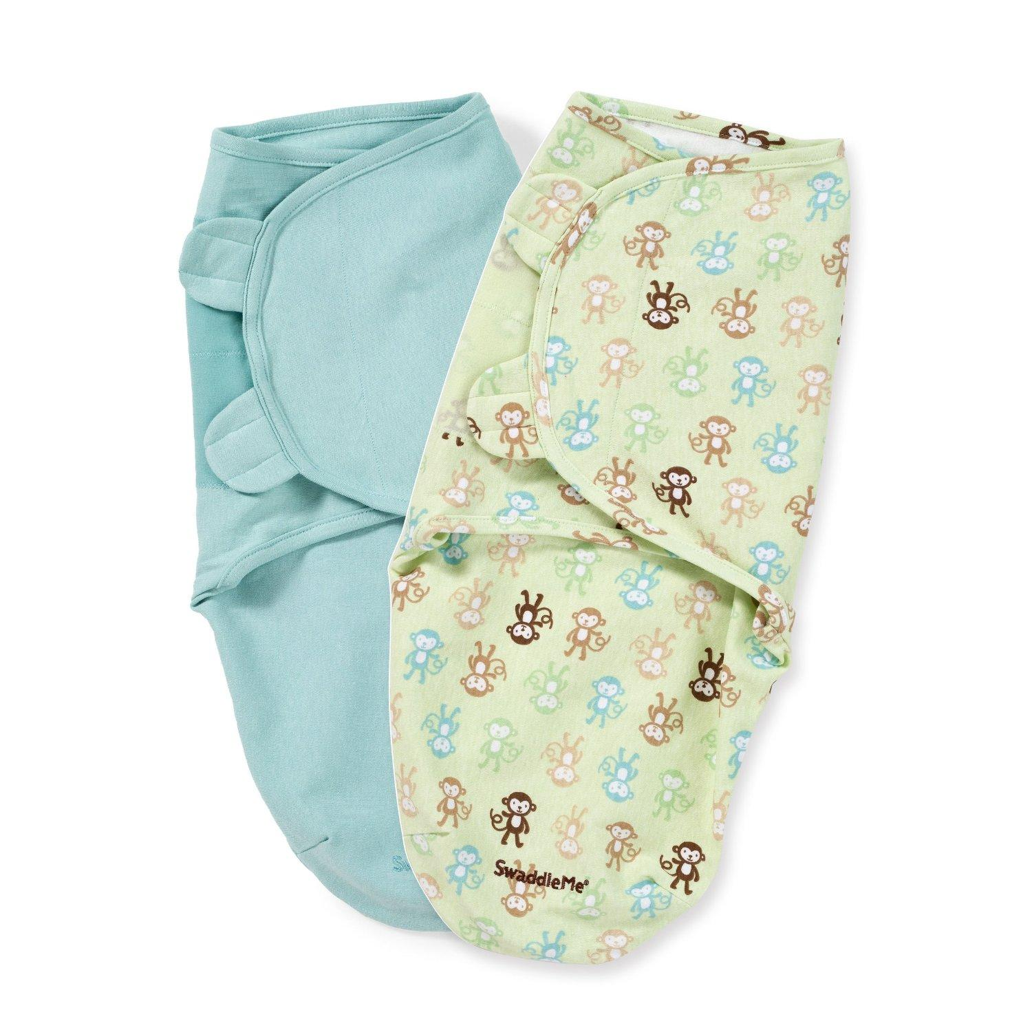 Summer Infant 2 Count Swaddleme Blanket, Monkey Fun, Small