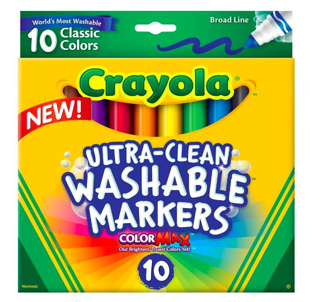 $1.57 Crayola Ultraclean Broadline Classic Washable Markers (10 Count)