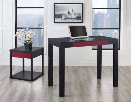 $41.99 Altra Parsons Study Desk with Drawer, Black Finish with Red Drawer Front