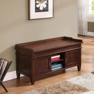 Brooklyn + Max Richland Collection Dark Tobacco Brown Entryway Storage Bench