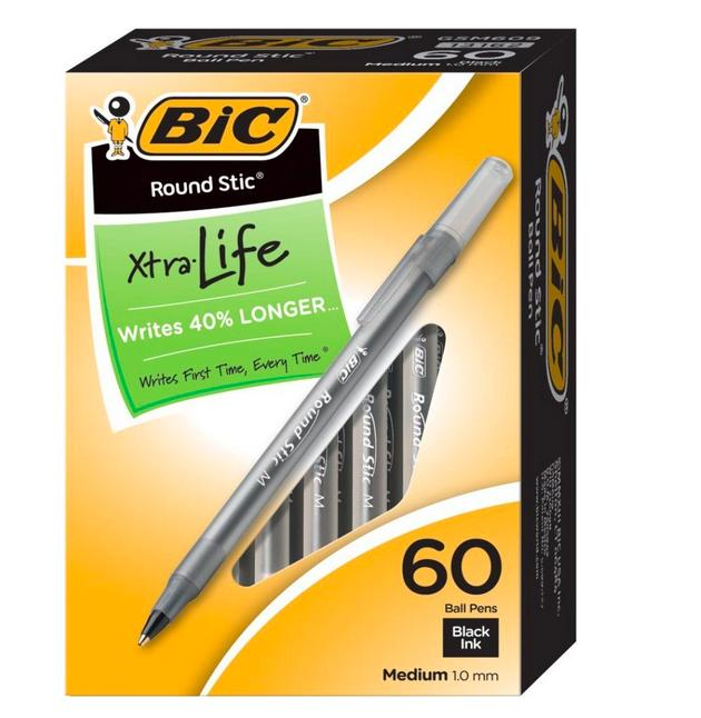 $4.72 BIC Round Stic Xtra Life Ball Pen, Medium Point (1.0 mm), Black, 60-Count