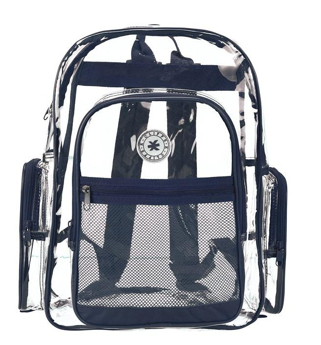 $14.39 K-Cliffs Clear Transparent PVC School Backpack / Outdoor Backpack with Color Trim