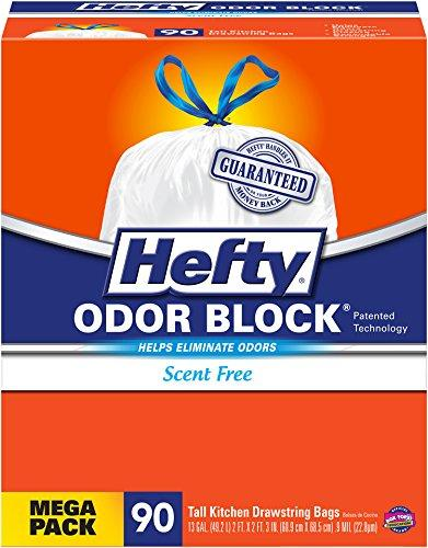 $9.45 Hefty Odor Block Tall Kitchen Trash Bags, scent free, 90 Count