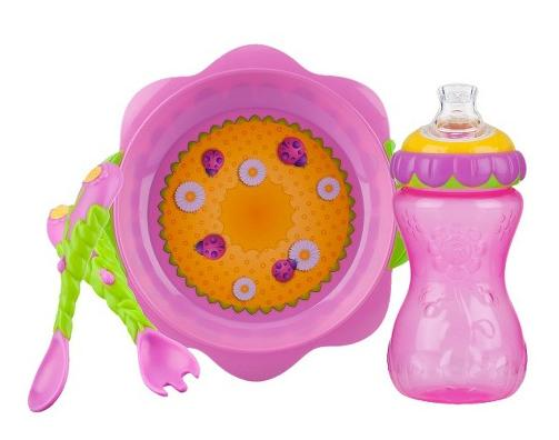 $5.98 Nuby 3pc Flower Chile Baby Feeding Set - 11oz Super Spout Gripper Cup, Plate, Spoon & Fork @ Target.com