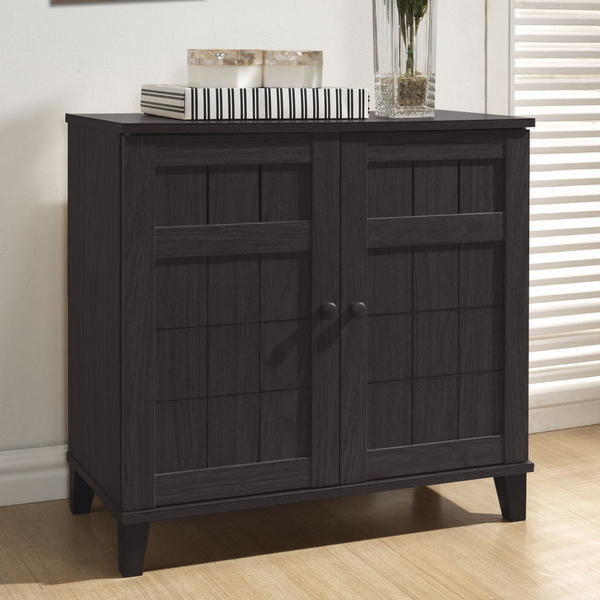 $89.37 Baxton Studio Glidden Dark Brown Wood Short Shoe Cabinet