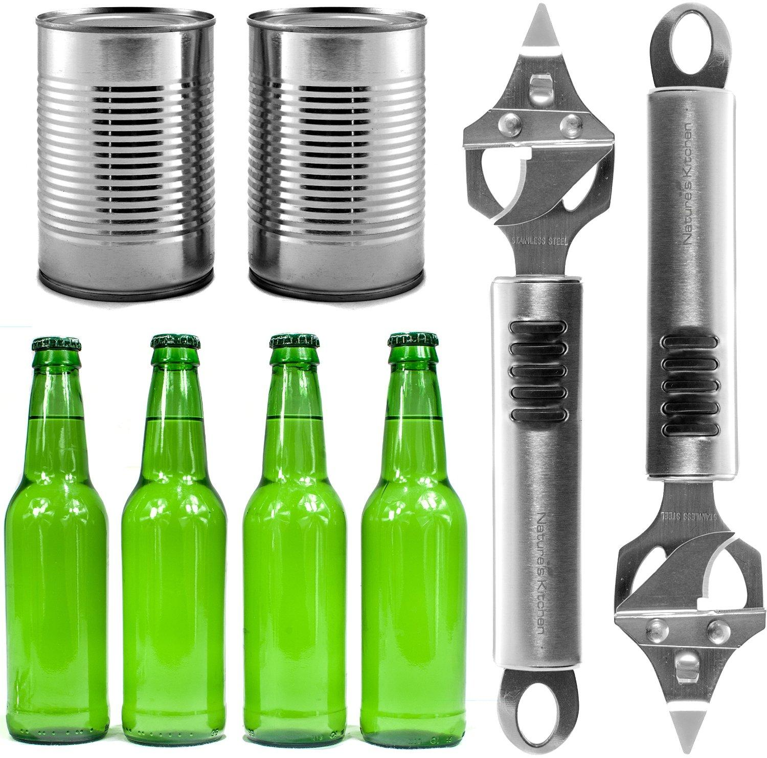 Bottle Opener & Can Punch Multitool by Natures Kitchen - Commercial Grade Stainless Steel