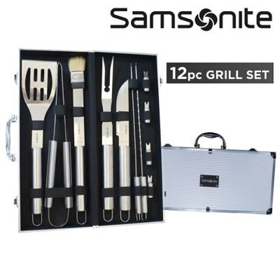 Samsonite 12 Piece BBQ Deluxe Stainless Steel Grill Set with Aluminum Storage Case